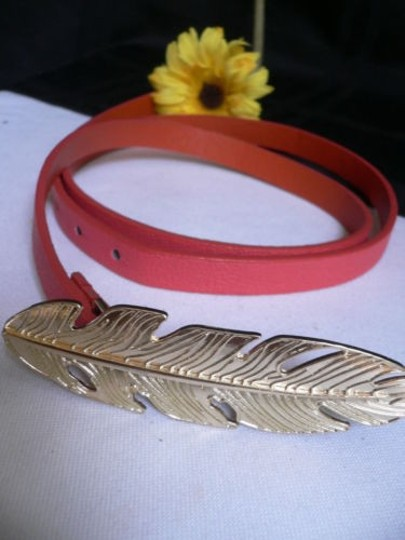 Other Women Hip High Waist Thin Pink Fashion Narrow Belt Big Gold Feather Buckle Image 2