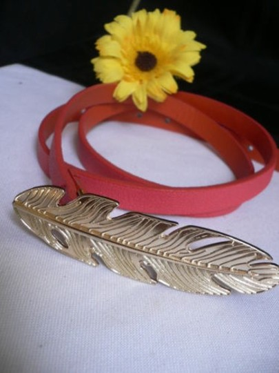 Other Women Hip High Waist Thin Pink Fashion Narrow Belt Big Gold Feather Buckle Image 6