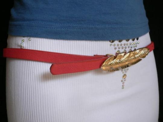 Other Women Hip High Waist Thin Pink Fashion Narrow Belt Big Gold Feather Buckle Image 7