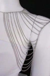Women Casual Silver Shoulder Metal Body Chain Fashion Jewelry Mjs Style