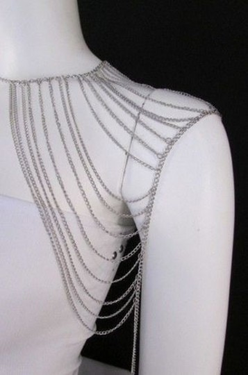 Other Women Silver Shoulder Metal Body Chain Jewelry Mjs Style Image 3