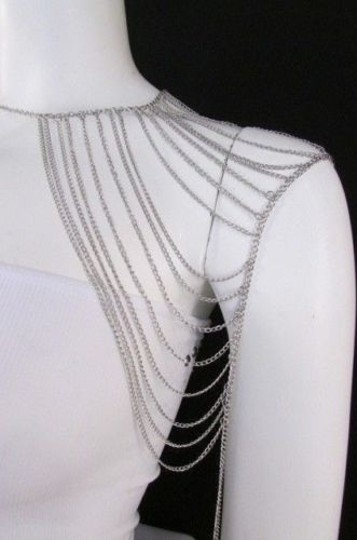 Other Women Silver Shoulder Metal Body Chain Jewelry Mjs Style Image 4
