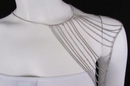 Other Women Silver Shoulder Metal Body Chain Jewelry Mjs Style Image 7