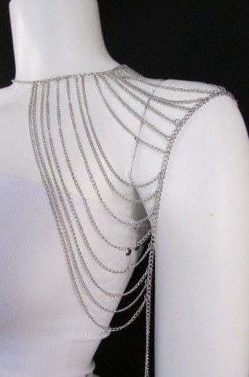 Other Women Silver Shoulder Metal Body Chain Jewelry Mjs Style Image 8