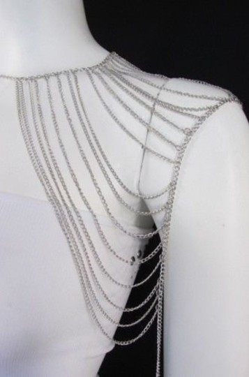 Other Women Silver Shoulder Metal Body Chain Jewelry Mjs Style Image 9