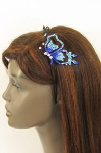 Other Women Fashion Headband Butterfly Silver Red Blue Multi Rhinestones
