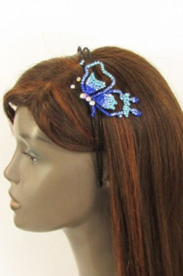 Other Women Headband Butterfly Silver Red Blue Multi Rhinestones Image 0