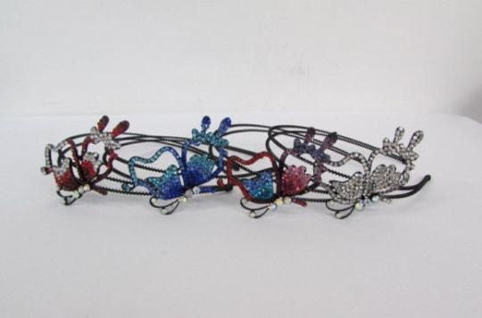 Other Women Headband Butterfly Silver Red Blue Multi Rhinestones Image 1