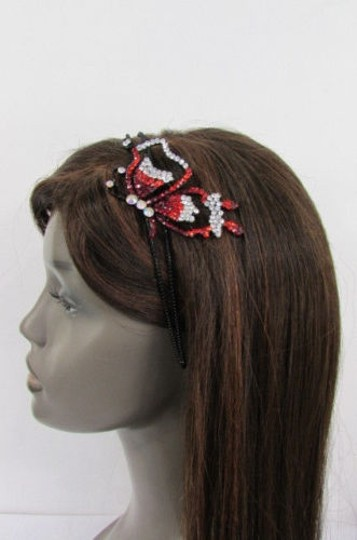 Other Women Headband Butterfly Silver Red Blue Multi Rhinestones Image 2