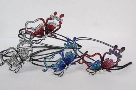 Other Women Headband Butterfly Silver Red Blue Multi Rhinestones Image 3