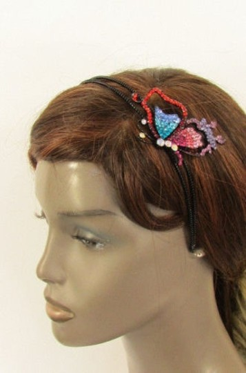 Other Women Headband Butterfly Silver Red Blue Multi Rhinestones Image 4