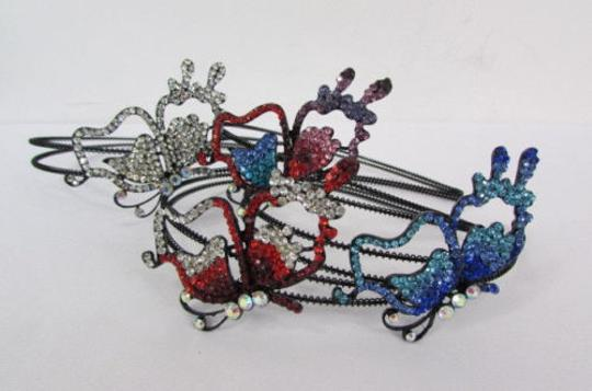 Other Women Headband Butterfly Silver Red Blue Multi Rhinestones Image 5
