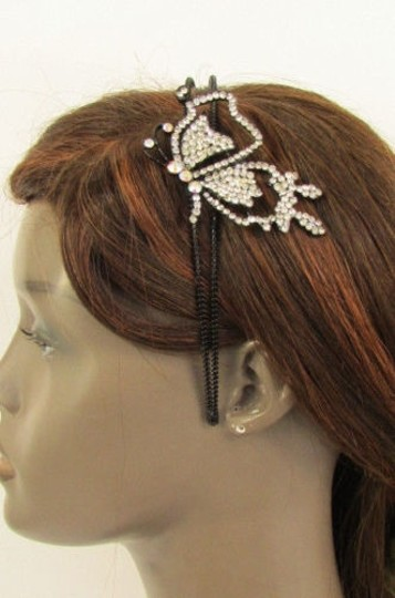 Other Women Headband Butterfly Silver Red Blue Multi Rhinestones Image 6