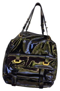 Cynthia Rowley Patent Gold Hardware Pockets Satchel in Black