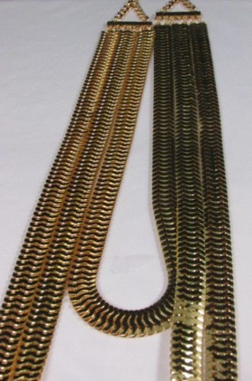 Other Women Gold Metal Chunky Links 22 Long Fashion Necklace Strands Earrings Image 1