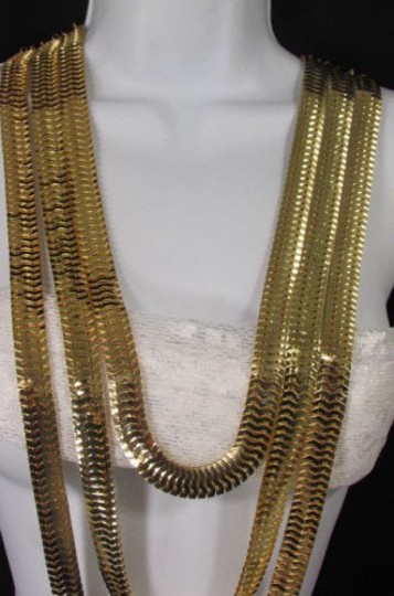Other Women Gold Metal Chunky Links 22 Long Fashion Necklace Strands Earrings Image 11