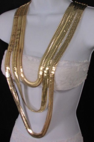 Other Women Gold Metal Chunky Links 22 Long Fashion Necklace Strands Earrings Image 2