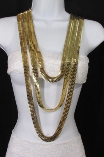 Other Women Gold Metal Chunky Links 22 Long Fashion Necklace Strands Earrings Image 3