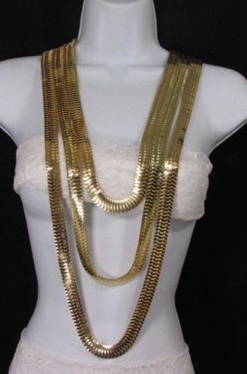 Other Women Gold Metal Chunky Links 22 Long Fashion Necklace Strands Earrings Image 5