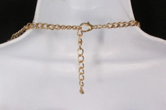 Other Women Gold Metal Chunky Links 22 Long Fashion Necklace Strands Earrings Image 6