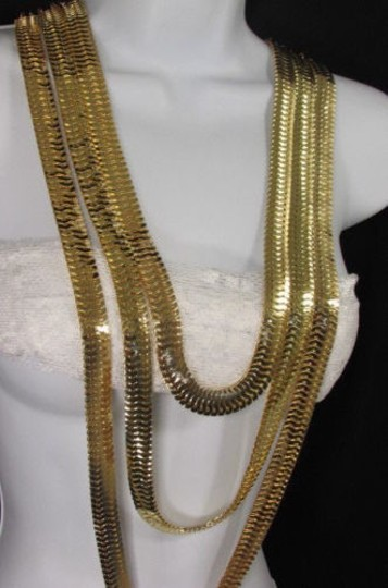 Other Women Gold Metal Chunky Links 22 Long Fashion Necklace Strands Earrings Image 7