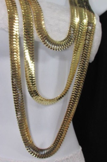 Other Women Gold Metal Chunky Links 22 Long Fashion Necklace Strands Earrings Image 9