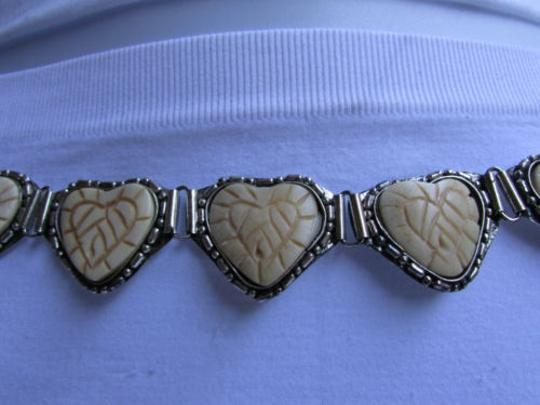 Other Women Hip Waist Silver Metal Fashion Belt Beige Hearts Shape 26-37