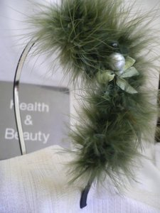 Other Women Headband Soft Green Feathers Bead Thin Metal Adjustable