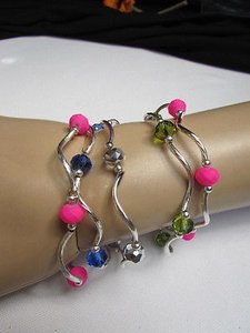 Women Green Hot Pink Light Blue Beads Fashion Jewelry Five Bangles Bracelets