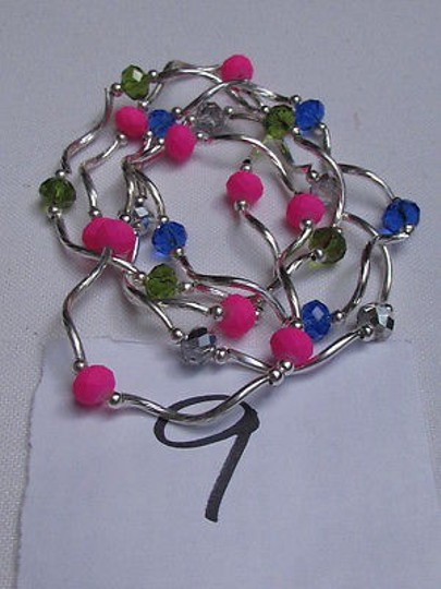 Other Women Green Hot Pink Light Blue Beads Fashion Jewelry Five Bangles Bracelets