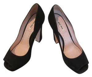 Miu Miu Suede Open Toe Designer Black Pumps