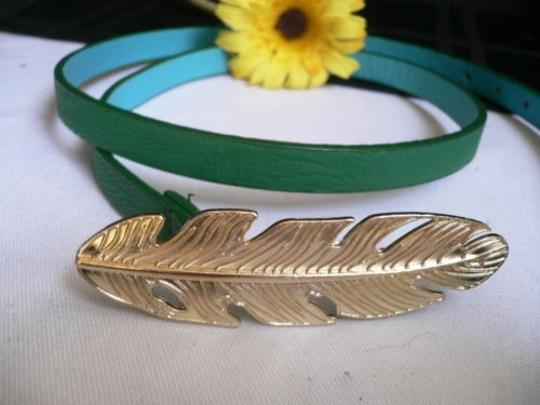 Other Women Hip Waist Thin Green Fashion Narrow Belt Gold Metal Feather Buckle