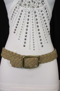 Aéropostale N. Aeropostale Women Beige Faux Leather Elastic Fashion Belt Gold Buckle Sm Ml