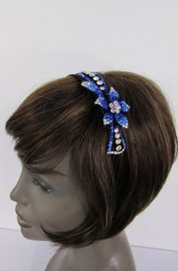 Women Fashion Headband Flower Charm Silver Pink Blue Multi Rhinestones
