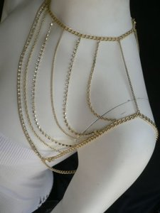 Women Gold Full Shoulder Rhinestones Classic Metal Chains Fashion Jewelry