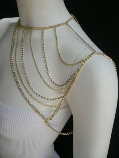 Other Women Gold Full Shoulder Rhinestones Classic Metal Chains Jewelry Image 1