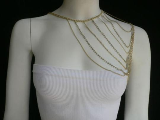 Other Women Gold Full Shoulder Rhinestones Classic Metal Chains Jewelry Image 10
