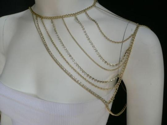 Other Women Gold Full Shoulder Rhinestones Classic Metal Chains Jewelry Image 11