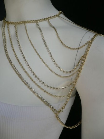 Other Women Gold Full Shoulder Rhinestones Classic Metal Chains Jewelry Image 3