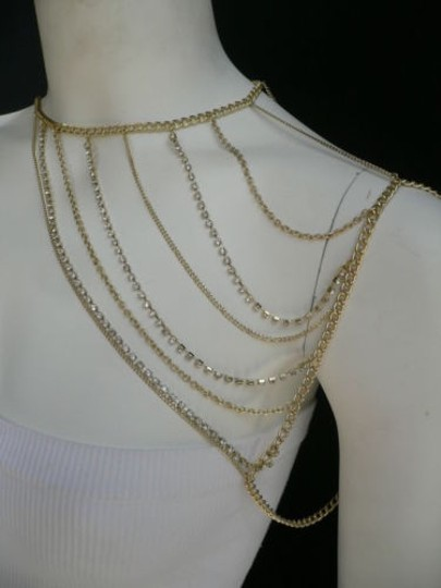 Other Women Gold Full Shoulder Rhinestones Classic Metal Chains Jewelry Image 5
