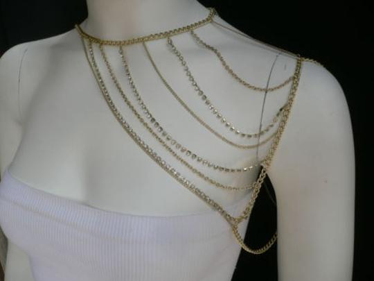 Other Women Gold Full Shoulder Rhinestones Classic Metal Chains Jewelry Image 6