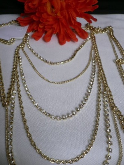 Other Women Gold Full Shoulder Rhinestones Classic Metal Chains Jewelry Image 7