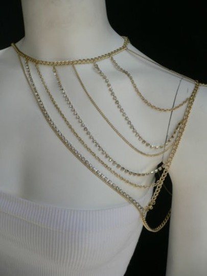 Other Women Gold Full Shoulder Rhinestones Classic Metal Chains Jewelry Image 8