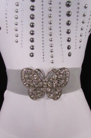 Other Women Gray Elastic Hip Waist Fashion Belt Big Butterfly Buckle 25-35