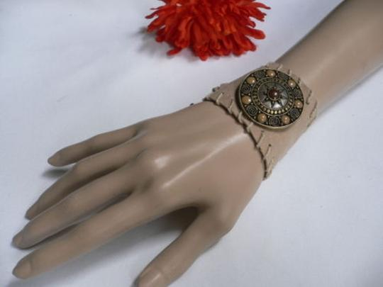 Other Women Beige Faux Suede Tie Native Style Gold Bracelet Brown Dots Image 0