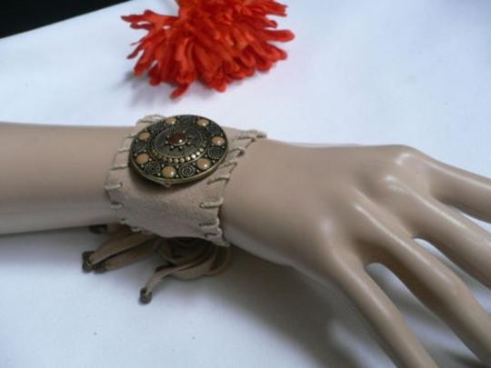 Other Women Beige Faux Suede Tie Native Style Gold Bracelet Brown Dots Image 1