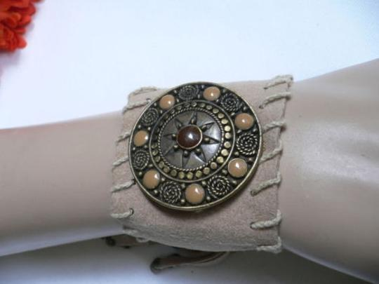 Other Women Beige Faux Suede Tie Native Style Gold Bracelet Brown Dots Image 3