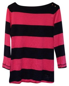 Tory Burch Striped Logo Cotton 3/4 Sleeve Rounded Collar Sweater
