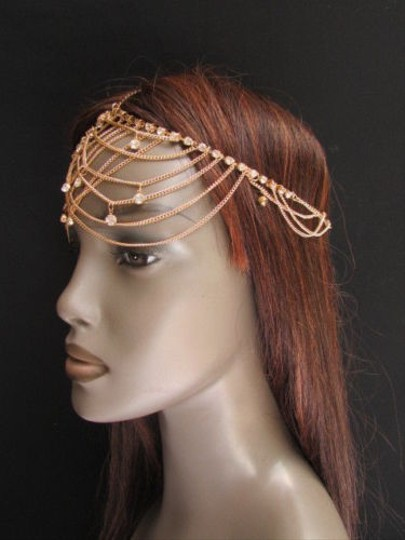 Other Women Gold Metal Forehead Head Chain Fashion Hair Jewelry Silver Rhinestones