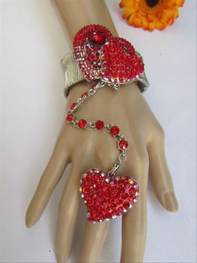 Other Women Silver Metal Slave Big Heart Ring Love Wrist Bracelet Red Rhinestones